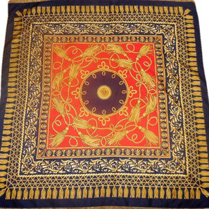 Vintage Scarf Large Square Red Blue Yellow Print b